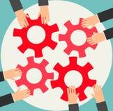 Gente di affari che si unisce gli ingranaggi Immagine Stock Libera da Diritti