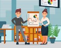 Gente di affari che spiega i grafici sul grafico di vibrazione, caratteri di informazioni di affari che lavorano nell'ufficio, uf illustrazione vettoriale