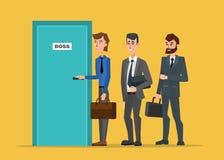 Gente di affari che sta in una linea alla porta del capo illustrazione vettoriale