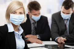 Gente di affari che teme il virus di swineflu Fotografie Stock Libere da Diritti