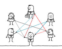 Gente di affari collegata dalle linee di colore Fotografia Stock Libera da Diritti