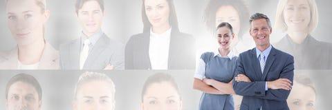 Gente di affari con i profili del ritratto della gente differente nel fondo Fotografie Stock