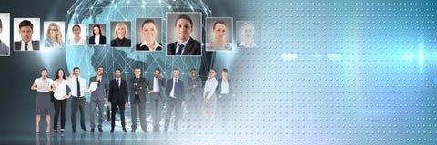 Gente di affari con i profili del ritratto del persone in tutto il mondo differente Fotografia Stock