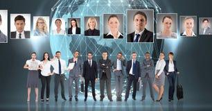 Gente di affari con i profili del ritratto del persone in tutto il mondo differente Fotografia Stock Libera da Diritti