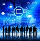 Gente di affari con il concetto di sicurezza dell'informazione Fotografia Stock Libera da Diritti