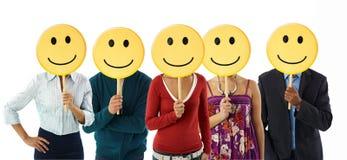 Gente di affari con il emoticon Fotografia Stock Libera da Diritti