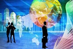 Gente di affari con il globo della terra Fotografie Stock Libere da Diritti