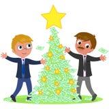 Gente di affari con l'albero di Natale dei soldi Immagini Stock