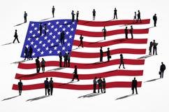 Gente di affari con la bandiera americana Immagini Stock Libere da Diritti