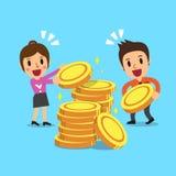 Gente di affari con le monete dei soldi Fotografia Stock Libera da Diritti