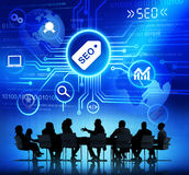 Gente di affari con SEO Concept Immagine Stock Libera da Diritti