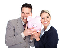 Gente di affari con una banca piggy Immagini Stock