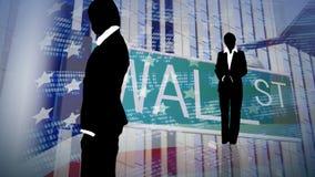 Gente di affari con una priorità bassa del Wall Street illustrazione vettoriale