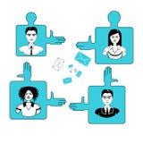Gente di affari concetto di lavoro di squadra e di Team On Puzzle Pieces Cooperation Royalty Illustrazione gratis