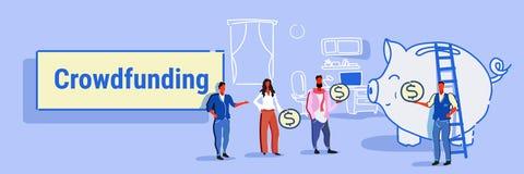 Gente di affari crowdfunding di concetto dell'investitore dei soldi di investimento del gruppo delle persone di affari che invest royalty illustrazione gratis