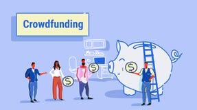 Gente di affari crowdfunding di concetto dell'investitore dei soldi di investimento del gruppo delle persone di affari che invest illustrazione di stock