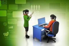 gente di affari 3d che lavora il computer portatile Immagine Stock Libera da Diritti