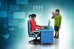 gente di affari 3d che lavora il computer portatile Immagine Stock