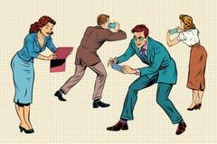 Gente di affari dei giochi online del gioco sugli smartphones e sulle compresse illustrazione vettoriale