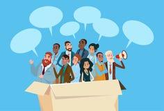 Gente di affari del candidato nella folla delle risorse umane delle persone di affari del gruppo della scatola Fotografia Stock