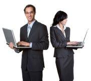 Gente di affari del computer portatile Fotografie Stock Libere da Diritti