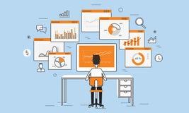 Gente di affari del grafico commerciale di analisi dei dati sul concetto del monitor Fotografia Stock