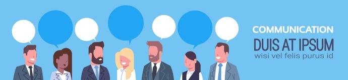 Gente di affari del gruppo di comunicazione di concetto di Team Of Successful Businessmen And delle donne di affari dell'insegna  illustrazione di stock