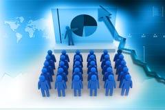 Gente di affari del gruppo con il diagramma a torta Fotografie Stock Libere da Diritti