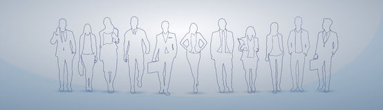 Gente di affari del gruppo dei quadri Team Businesspeople Teamwork Concept della siluetta illustrazione di stock