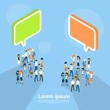 Gente di affari del gruppo della bolla Team Communication Teamwork 3d di chiacchierata isometrico Immagini Stock Libere da Diritti