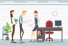 Gente di affari del gruppo di collaborazione di Team Modern Office Interior Teamwork illustrazione di stock