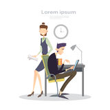 Gente di affari del gruppo di collaborazione di Team Modern Office Interior Teamwork illustrazione vettoriale