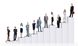 Gente di affari del gruppo e diagramma Immagini Stock Libere da Diritti