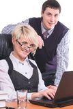 Gente di affari del lavoro con il computer portatile Immagini Stock