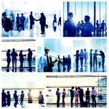 Gente di affari del lavoro d'ufficio di concetto corporativo di paesaggio urbano Immagine Stock Libera da Diritti