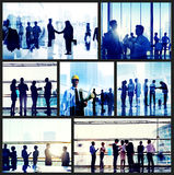 Gente di affari del lavoro d'ufficio di concetto corporativo di paesaggio urbano Fotografia Stock