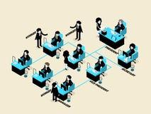 Gente di affari del maschio e femmina nel concetto dell'organigramma Fotografia Stock