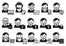 Gente di affari dell'insieme dell'icona Immagine Stock