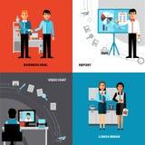 Gente di affari 4 della composizione piana nelle icone Immagini Stock Libere da Diritti