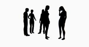 gente di affari della siluetta 4k che parla o che per mezzo dei telefoni cellulari illustrazione vettoriale
