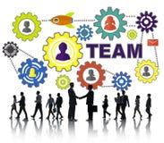 Gente di affari della stretta di mano dell'ingranaggio Team Concept corporativo del collegamento Fotografie Stock Libere da Diritti