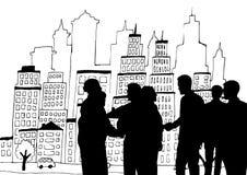 Gente di affari delle siluette contro l'illustrazione della città illustrazione di stock