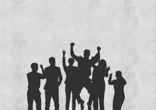 Gente di affari delle siluette contro la parete bianca fotografia stock