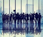 Gente di affari di celebrazione di concetti della siluetta Fotografia Stock Libera da Diritti