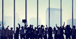Gente di affari di celebrazione di concetto della siluetta Immagine Stock