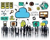 Gente di affari di discussione di calcolo Team Concept della nuvola Immagine Stock