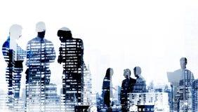 Gente di affari di paesaggio urbano di concetto corporativo delle costruzioni Immagini Stock