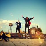 Gente di affari di paesaggio urbano Team Concept di forza del supereroe Immagini Stock
