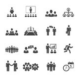 Gente di affari di riunioni ed icone di conferenze Immagini Stock