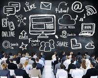 Gente di affari di seminario di media sociali Conce delle comunicazioni globali Immagine Stock